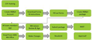 A chart of the IRB Process from start to finish